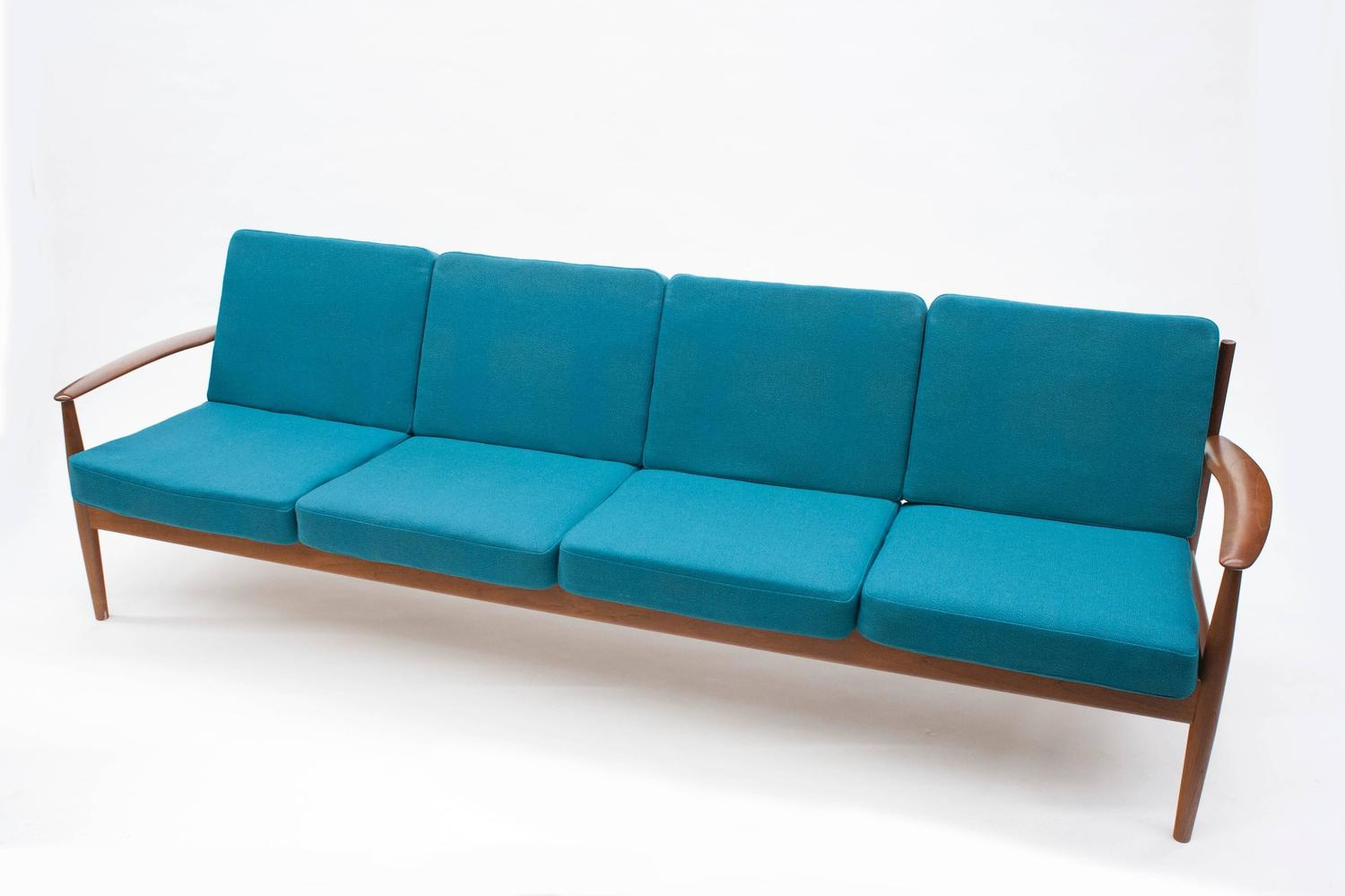 danish modern classic grete jalk long four seat sofa for