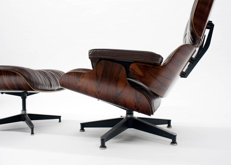 Clic Eames 670 Lounge Chair In Brazilian Rosewood And Original Dark Brown Leather Upholstery Herman