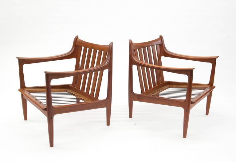 Pair Of Vintage Low Scandinavian Modern Lounge Chairs In