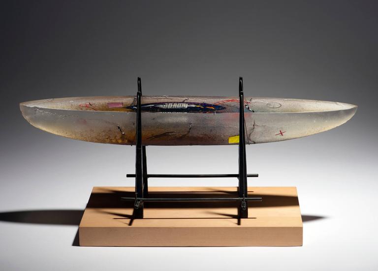 Bertil Vallien For Kosta Boda Modern Glass Boat Sculpture