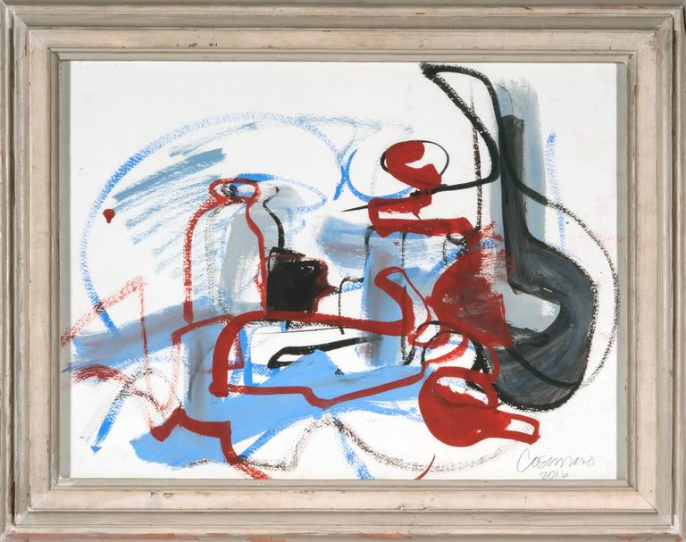 Striking abstract work on paper by Washington D.C. artist Jeanne Cosimano. Artist is known for her dynamic compositions and skillful use of color. Work is gouache on paper with antique frame.