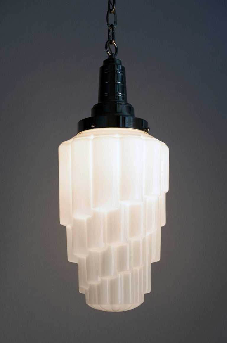 French art deco glass opal skyscraper hanging pendant light for sale 1