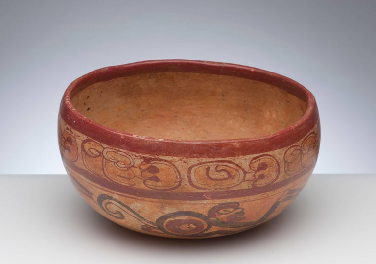 18th Century and Earlier Pre-Columbian Maya Polychrome Monkey Bowl For Sale