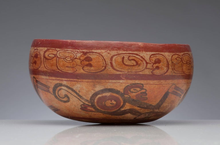 Pre-Columbian Maya Polychrome Monkey Bowl In Good Condition For Sale In Washington, DC