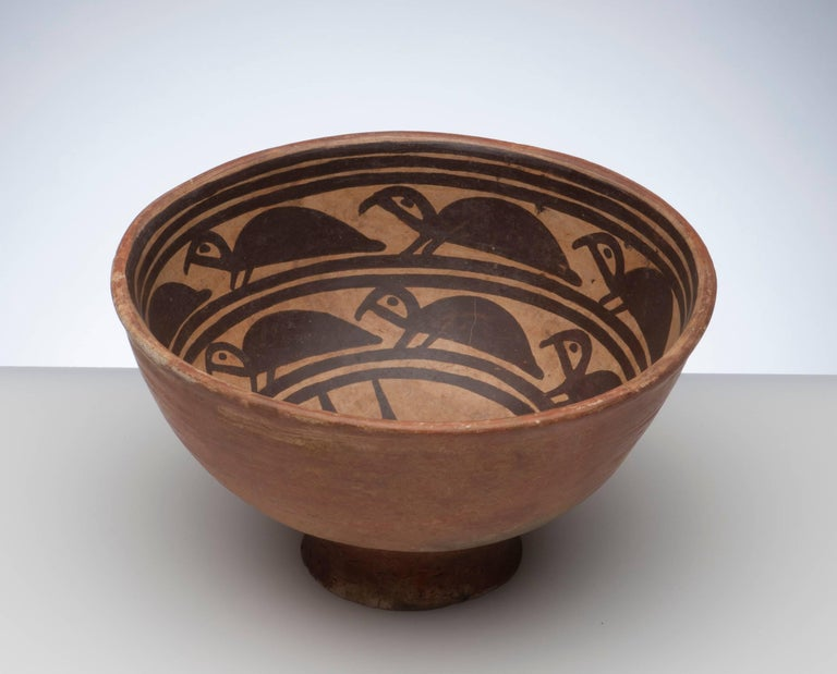 Incredible Pre-Columbian bowl from the Narino region of Columbia, circa 1000 AD. Beautifully decorated with rarely seen turtle images. Condition is excellent.