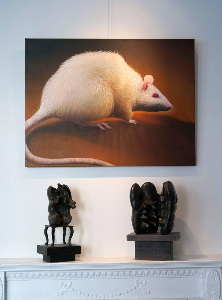 Late 20th Century Photorealism Oil Painting by Manon Cleary of Rat For Sale