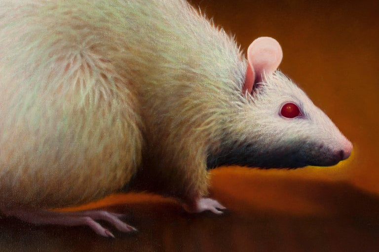 Photorealism oil painting of rat by Washington D.C. artist Manon Cleary (1942-2011). Painting is signed on reverse