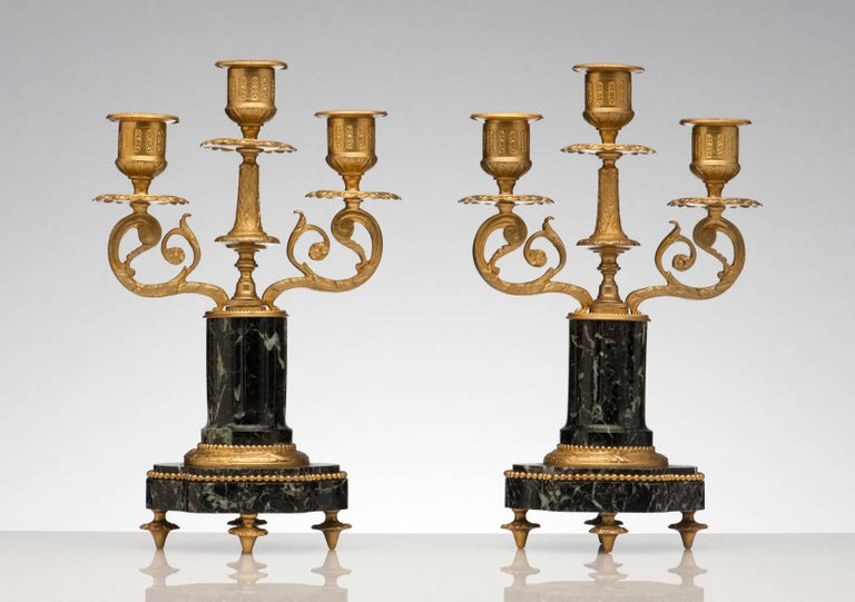 Beaux Arts French Antique Pair of Marble and Bronze Candelabra For Sale