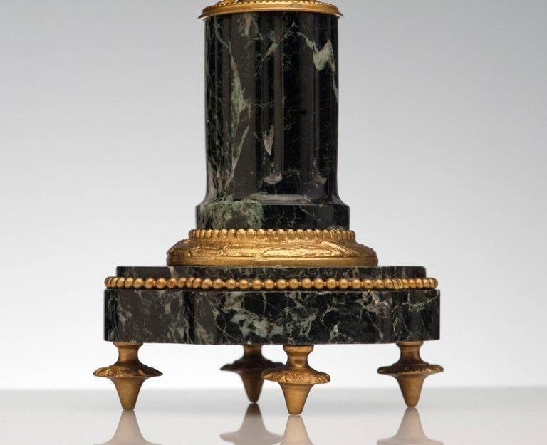 Early 20th Century French Antique Pair of Marble and Bronze Candelabra For Sale