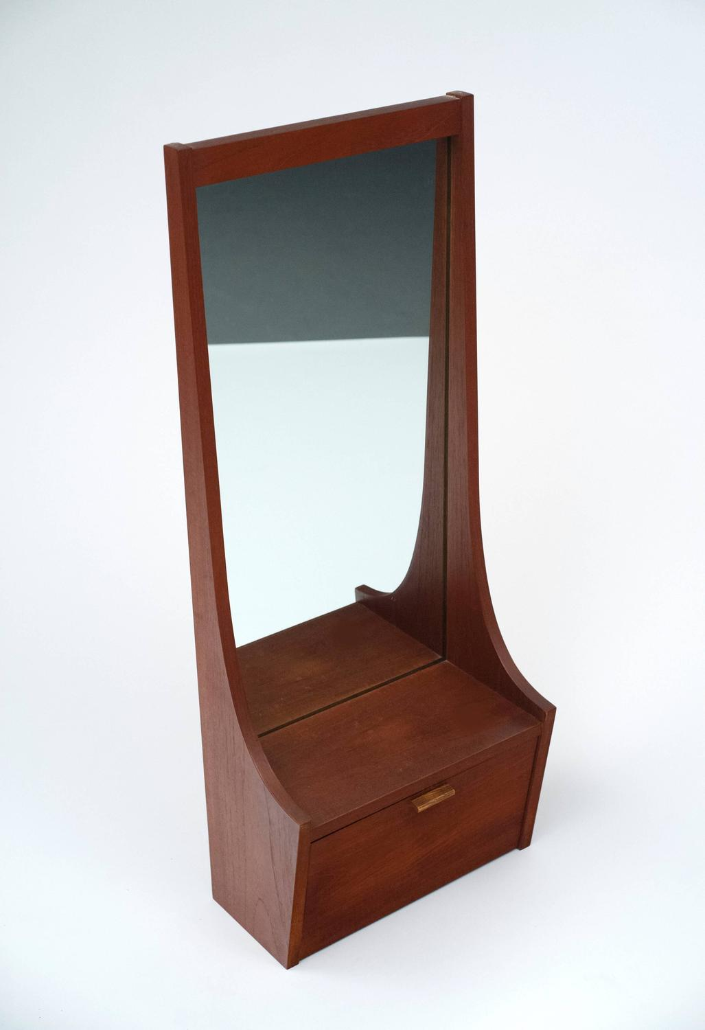 Foyer Mirror Cabinet : Mid century modern entryway mirror with shelf and cabinet