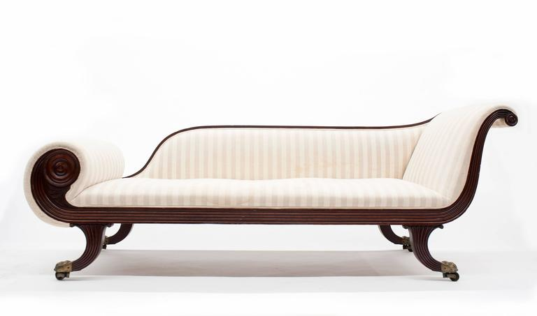 Classic federal antique chaise lounge recamier circa 1820 for Antique chaise for sale