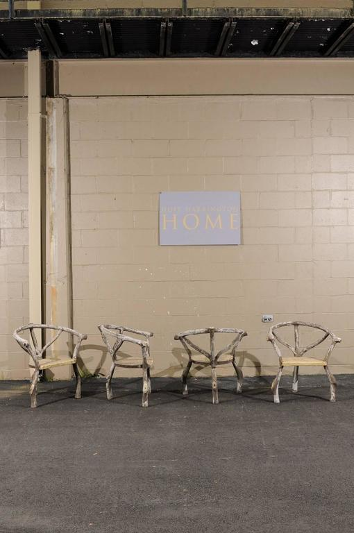 Four French Mid Century Faux Bois Armchairs With Barrel