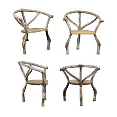 Four French Mid-Century Faux-Bois Armchairs with Barrel Back Seats