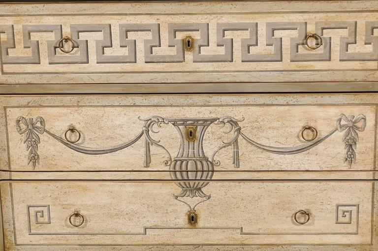 German, Mid-19th Century Neoclassical Style Painted Wood Commode with Greek Key 8