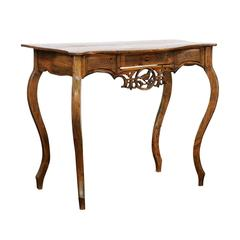 French 18th Century Louis XV Carved Pine Single Drawer Desk from the Jura Region