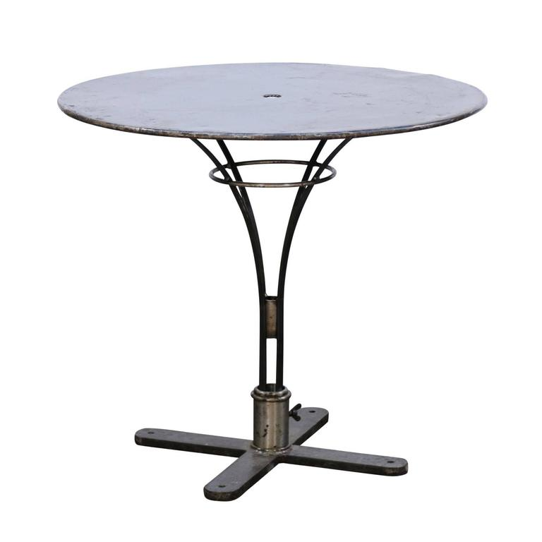french vintage round iron bistrot table from the loire valley with pedestal base at 1stdibs. Black Bedroom Furniture Sets. Home Design Ideas