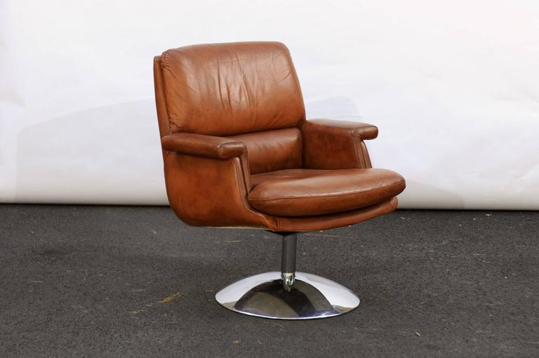 A French Mid Century Modern Leather Armchairs With Aluminium Tulip Shaped  Base. Feels Like