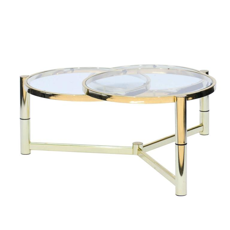 Mid Century Italian Brass And Glass Coffee Table With Rotating Circles At 1stdibs