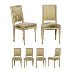 Set of Six French Louis XVI Style Painted Wood Dining Chairs, circa 1900