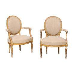 Pair of French Louis XVI Style Giltwood Fauteuils with Oval Backs with Linen