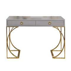 Grey Lacquer Two-Drawer Desk with Half-Moon Arched Brass Base