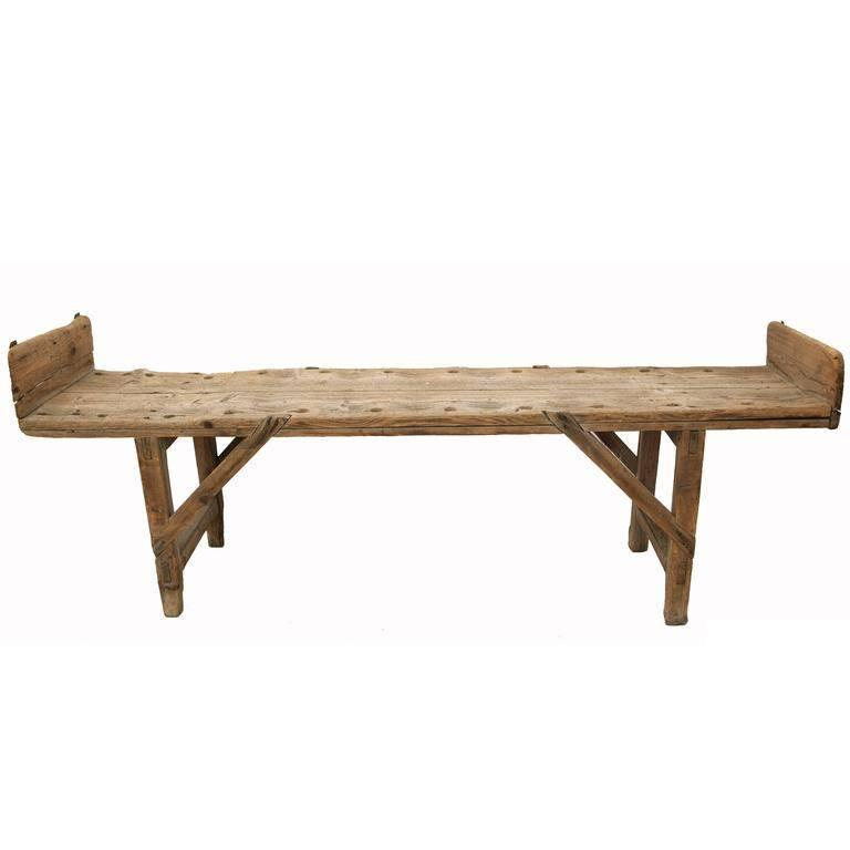 French Rustic Wooden Backless Pearling Bench from the Mid-19th Century