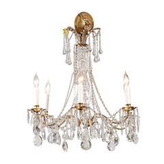 French Vintage Six-Light Crystal Chandelier with Gilt Metal Armature, circa 1930