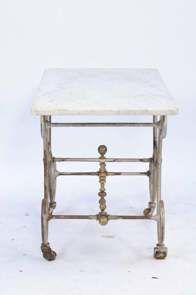 French Iron And Marble Top Baker S Table With Curly Gilded