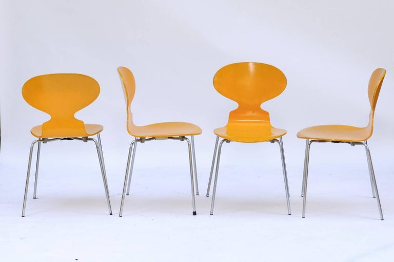 Set of Four 1970s Arne Jacobsen Danish 'Fourmi' Side Chairs with Sunny Color In Good Condition For Sale In Atlanta, GA
