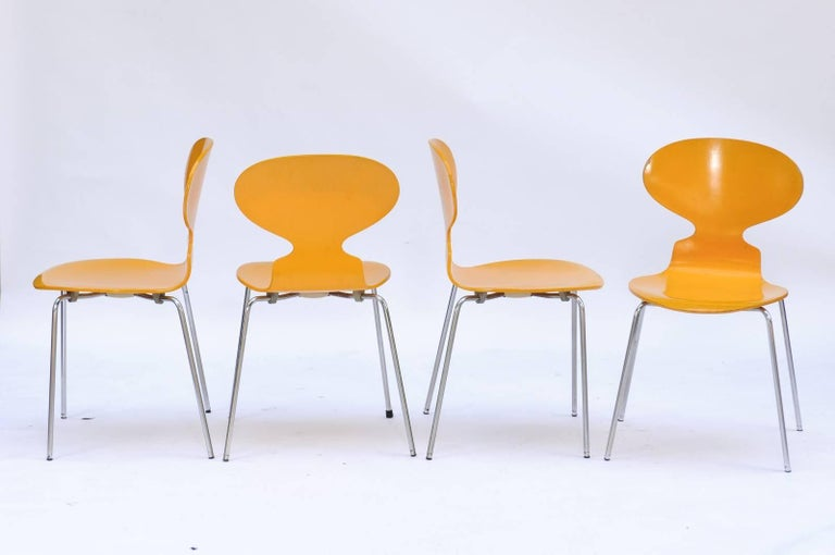 20th Century Set of Four 1970s Arne Jacobsen Danish 'Fourmi' Side Chairs with Sunny Color For Sale