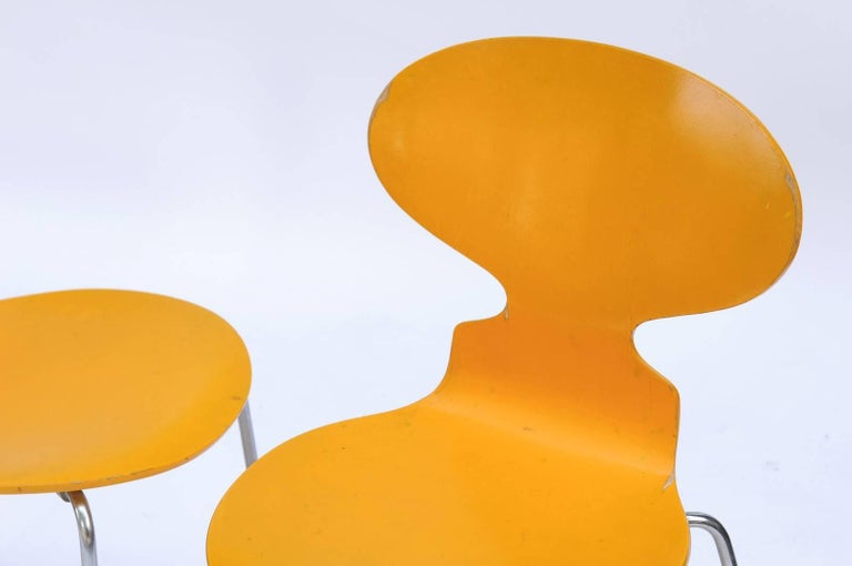 Metal Set of Four 1970s Arne Jacobsen Danish 'Fourmi' Side Chairs with Sunny Color For Sale