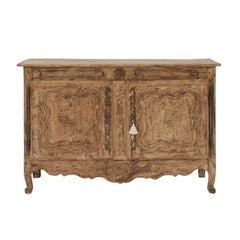 1780s Stripped Wood Two-Door Buffet from the Auvergne Region of France