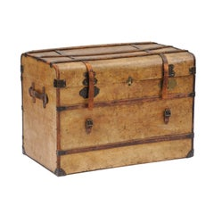 1920s, French Travel Trunk Coffee Table with Leather Straps and Compartments