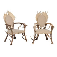 Pair of Antler Armchairs from the Forests of France and Upholstered in Linen