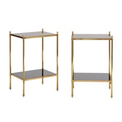 Pair of French Vintage Maison Jansen Style Tiered Side Tables with Smoked Glass