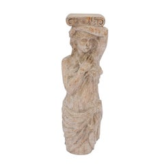 French Late 18th Century Wooden Caryatid Sculpture of a Woman with Ionic Capital