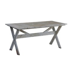French Trestle Base Blue Grey Painted Farm Table with X-Shaped Legs, circa 1920