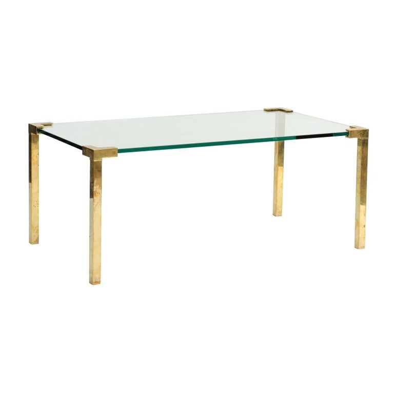 Frameless Glass Coffee Table: Peter Ghyczy 1970s Brass And Glass Coffee Table With