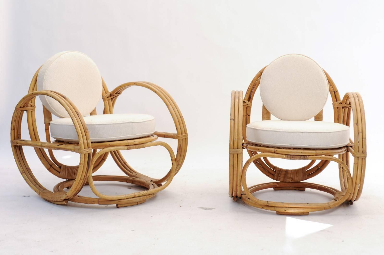 A pair of French Mid-Century Modern rattan lounge chairs with upholstered backs and seats : french rattan chairs - Cheerinfomania.Com