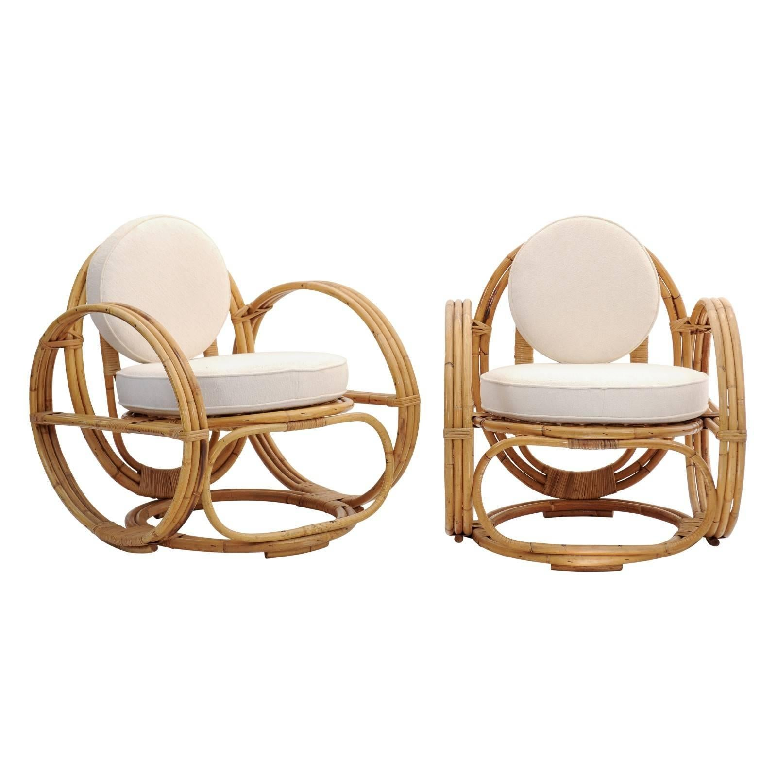 Pair Of French 1950s Retro Rattan Lounge Chairs With Upholstered Back And  Seat