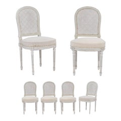Set of Six Northern French Louis XVI Style 1940s Dining Chairs with Cane Backs