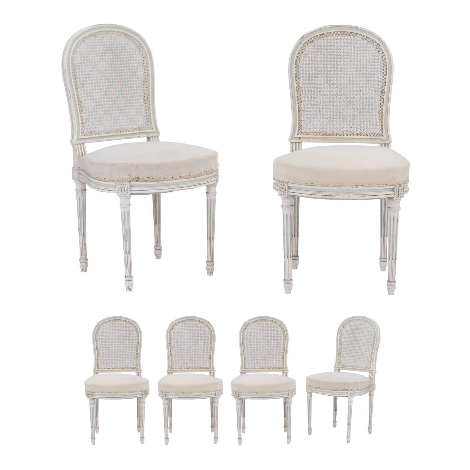 Set Of Six Northern French Louis XVI Style 1940s Dining Chairs With Cane  Backs For Sale