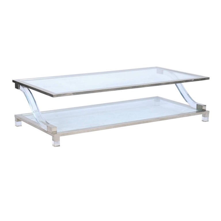 Italian Stainless Steel And Lucite Midcentury Coffee Table With Glass Shelves For Sale At 1stdibs