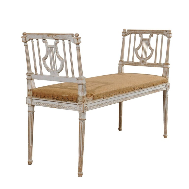 Louis XVI Style 19th Century Backless Bench with Lyre Motifs and Fluted Legs