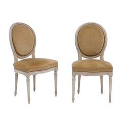 Pair of French Louis XVI Style Painted Wood Side Chairs with Original Upholstery