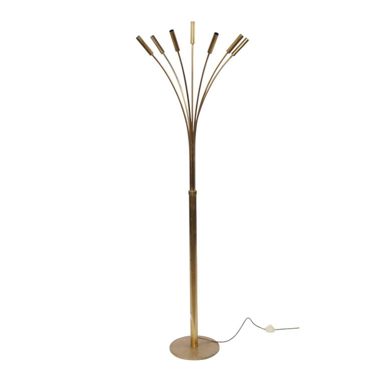 Vintage Italian Seven-Light Brass Floor Lamp with Arched Arms from the 1970s
