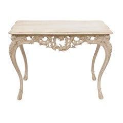 French Louis XV Style Stripped Oak Side Table with Carved Apron, Cabriole Legs