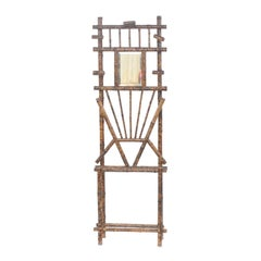 French Tortoise-Colored Faux-Bamboo Coat Rack with Mirror from the 19th Century