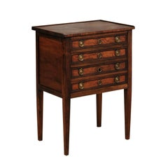 Northern French 1840s Petite Walnut Louis XVI Style Three-Drawer Commode