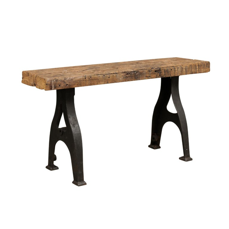 Vintage French Console Table with Oak Top and Industrial Iron Base, circa 1940s
